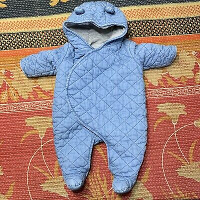 Baby Gap Boy Quilted Chambray Bear One-Piece 0-3 Months