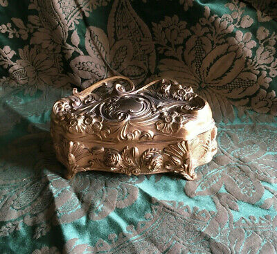 Classic Victorian Gilt Metal Jewelry Casket Box
