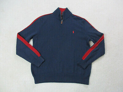 Ralph Lauren Polo Sweater Adult Extra Large Blue Red Pony Quarter Zip Mens A32*