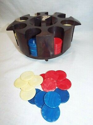 Vintage / Antique Bakelite / Catalin Poker Chips and Card Holder Carousel Caddy