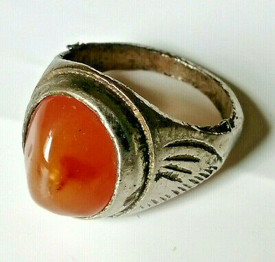Extremely Ancient Medieval Silver RING AMAZING Old wonderful Carnelian Agate