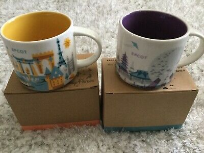 Starbucks Disney Epcot V2 & V3 You Are Here 14oz. Ceramic Mugs
