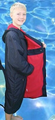 Swim Parka New Wazsup Black with Red Size S  (Pool deck coat, swim jacket)