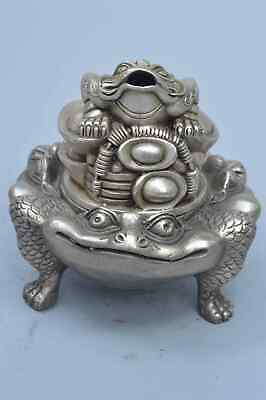 China Collectable Handwork Miao Silver Carve Frog Exorcism Tibet Incense Burner