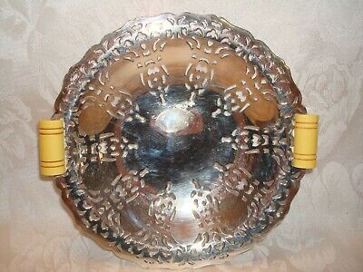 Art Deco  Silver Plate Bowl Dish With Bakelite Handles