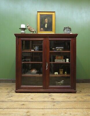 Large Antique Display Cabinet Bookcase with Glazed Doors & Adjustable Shelves