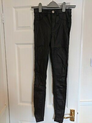 Ladies Girls Black Leather Effect Jeggings Skinny Jeans Size 6