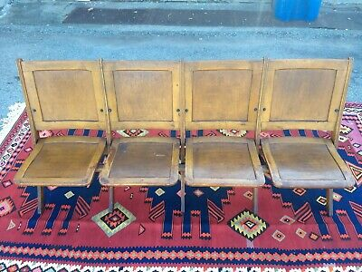 Antique Vintage 1920s - 1930s Wood Folding Seat Row - Theater Stadium Church Pew