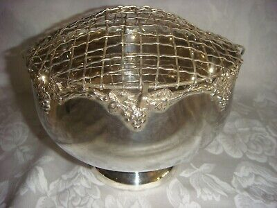 Vintage Silver Flower Arranging Bowl With Screen Frog Lipman Bros Old English