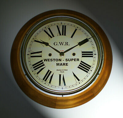 Great Western Railway GWR Retro Style Wooden Clock, Weston-Super-Mare Station