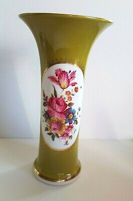 Caverswall Fine Bone China Trumpet Vase Hand-painted by M. Grant - 19.5 cm tall