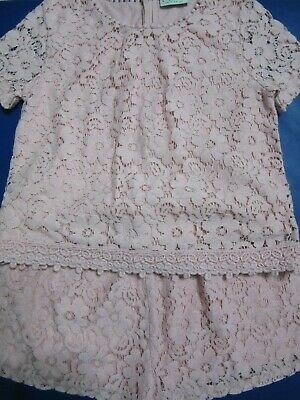 Pretty Next 2 Piece Top And Shorts Pink Lace Girls Set - Age 9