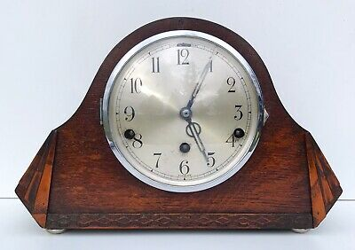 German Art Deco Oak Westminster Chiming Mantle Clock