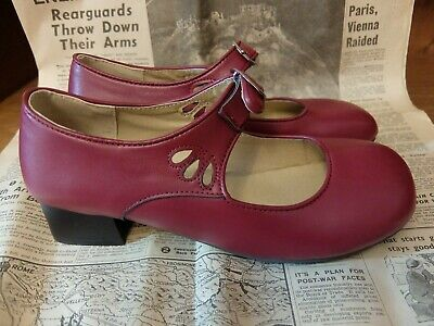 VINTAGE 20s 30s 40s STYLE MARY JANE TOP BUCKLE SHOES ADORABLE RARE UK 6 EU 39