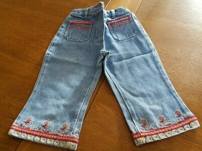 Next age 3 years girls 100% cotton jean Capri trousers with embroided details