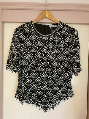 80s Beaded Trophy Wife Embellished Top Silk Size 16