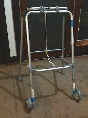 2 Wheel Walking Frame Folding Lightweight Mobility Disability Aid Support