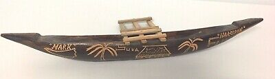 Fiji Hand crafted wooden Canoe with the name Mark  Harrison and Suva