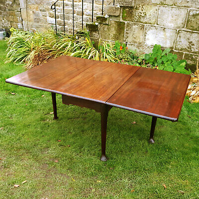 George II Mahogany 3 Plank Pad Foot Drop Leaf Dining Table C1740 (Georgian)