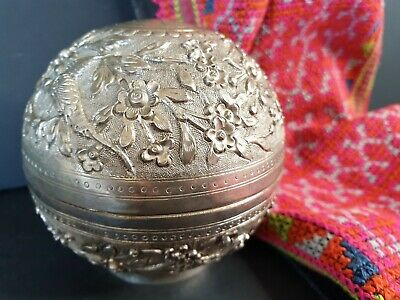 Old Vietnamese Round Silver Box …beautiful display and accent piece