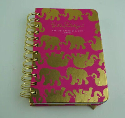 Lilly Pulitzer Aug 2016 Thru Dec 2017 Planner Tusk in Sun Pink Gold Fun Stickers