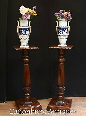 Regency Column Tables - Mahogany Pedestal Stands