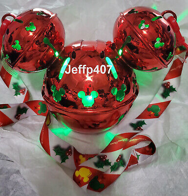 New 2019 Disney Parks Christmas Holiday Bell Mickey Light up Sipper Cup & Strap