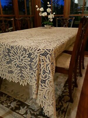 Antique Intricate Latte Ecru Genuine Battenburg Renaissance lace Tablecloth 250c