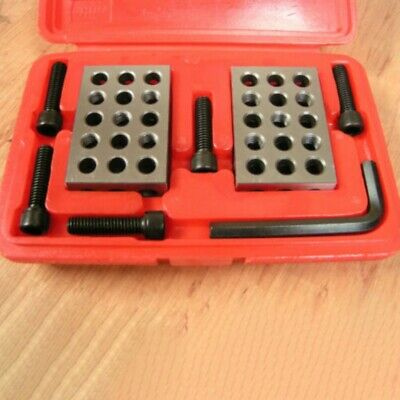 1Set 23 Holes Precision 1-2-3 inch Blocks with Screw Spanner Parallel Clamp O5P4