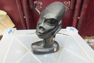 Vintage  COTT  WARE  RD Pottery Black African  Lady Figurine Barsony Style