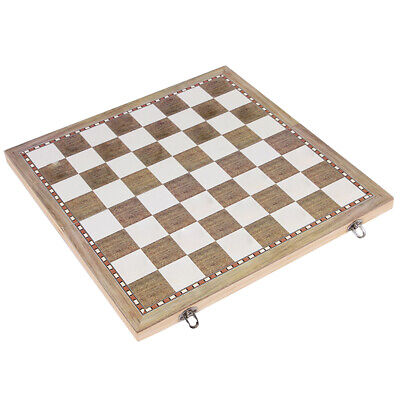 3 in 1 Checkers Backgammon Game Chess Board Wooden Foldable Kids Learning Toy