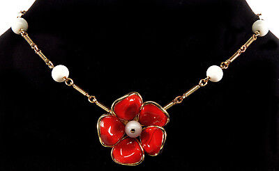 Vtg 50'S Crown Trifari Lipstick Red Poured Glass Camellia Necklace Camelia