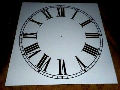 "Large Paper (Card) Clock Dial - 11"" M/T - Roman - MATT WHITE -  Parts/Spares"
