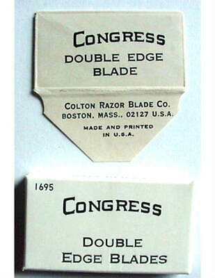Vintage GILLETTE TRADEMARK CONGRESS  FULL BOX DE  Safety Razor Blades #2