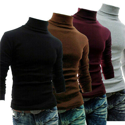 Men Polo Roll Turtle Neck Plain Pullover Knitted Jumper Basic Tops Sweater Shirt