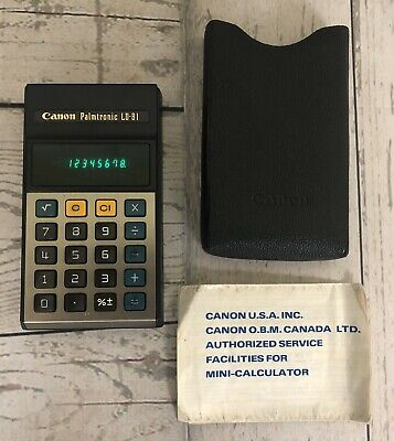 Vintage CANON Palmtronic LD-81 Calculator VFD Green Led Retro Computer w/ Case