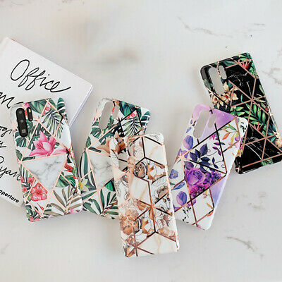For Huawei Mate 30 20 Pro P30 P20 Lite Plating Geometry Flower Soft Case Cover