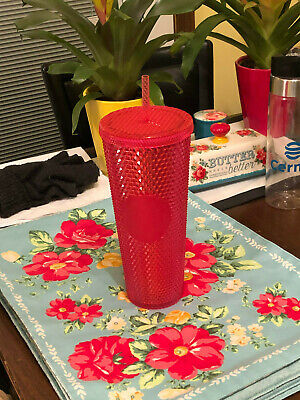 NEW STARBUCKS 2019 Neon Pink Studded Cold Cup Tumbler Christmas HOLIDAY On Hand