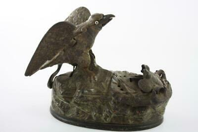 Rare Antique Victorian 1883 Cast Iron Eagle And Eagletes Motion Money Box