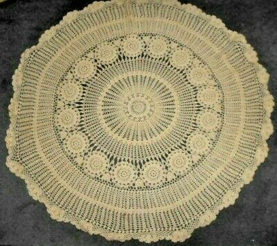 Crocheted cotton small TABLE CLOTH / large DOILY cream round W65cm excellent