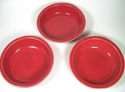 """Fiesta SCARLET (Red) Cereal Soup 7"""" BOWLS Contemporary Set of 3 Fiestaware THREE"""
