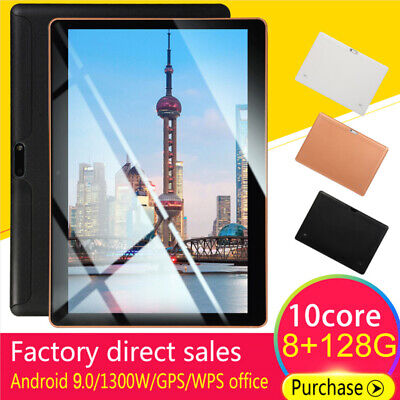 "Negro 10.1"" Tableta Android 9.0 8+128GB WiFi Google 2 Cámara Tablet PC bluetooth"