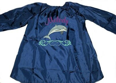 Kids Personalised Art Smock  / Paint Shirt - Dophin - First name FREE