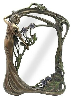 Veronese Bronze Figurine Art Nouveau Table Mirror Lady Standing Gift Home Decor