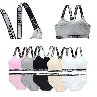 Teen Girl Underwear Soft Cotton Bra Set for Young Girls for Yoga Running Sports