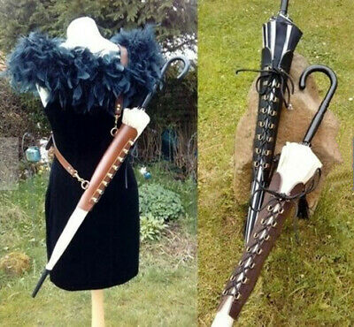 Elegant Leather Parasol Holster with Shoulder Strap Gothic Cosplay Accessories