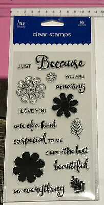 Love Nicole Clear Stamps ~ Just Because You Are Amazing Love You Special ~ 16pc