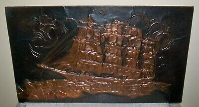 VINTAGE HAND CRAFTED COPPER SHIP PLAQUE 48 x 29cm