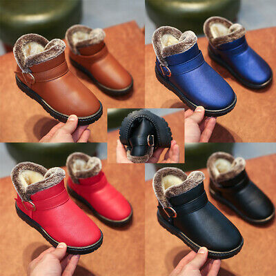 UK Kids Snow Ankle Boots Girls Boys Fur Lined Winter Flat Comfy Slippers Shoes