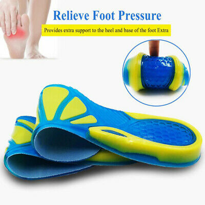 Silicon Gel Insoles Foot Care Massaging Inserts Shock Absorption Shoe Pad EB